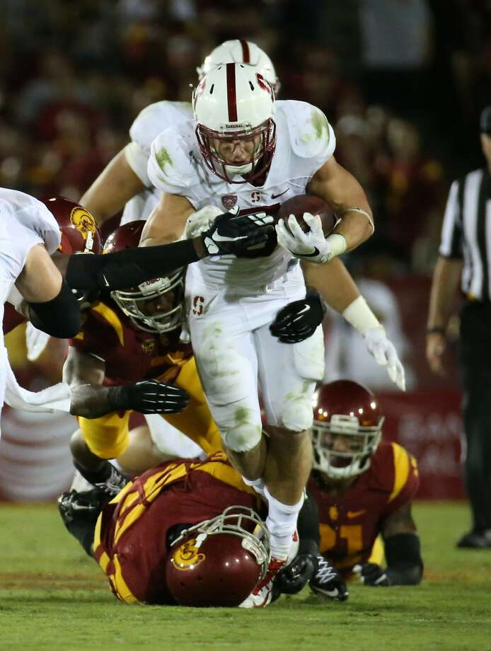 Stanford running back Christian McCaffrey plows through the USC defense on a drive that led to a touchdown in the fourth quarter at the Los Angeles Coliseum on Saturday, Sept. 19, 2015. Stanford won, 41-31. (Robert Gauthier/Los Angeles Times/TNS) Photo: Robert Gauthier, McClatchy-Tribune News Service