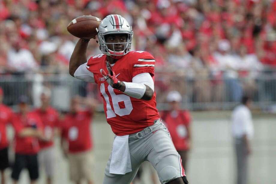 Ohio State quarterback J.T. Barrett plays against Northern Illinois during an NCAA college football game Saturday, Sept. 19, 2015, in Columbus, Ohio. (AP Photo/Jay LaPrete) Photo: Jay LaPrete, FRE / Associated Press / FR52593 AP