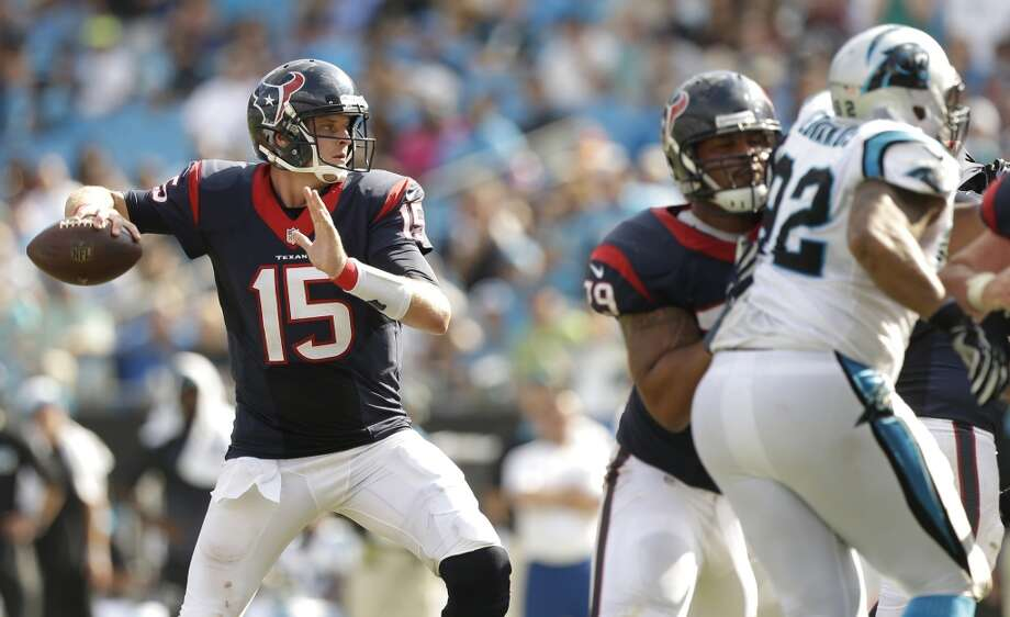 Texans quarterback Ryan Mallett (15) sets to pass against the Panthers during the fourth quarter of Sunday's game. Mallett completed 27 of 58 attempts for 244 yards and a touchdown. Photo: Brett Coomer, Houston Chronicle
