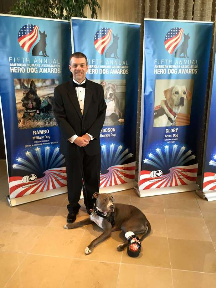 Hudson The Railroad Dog and his owner Richard Nash pose at the Fifth Annual American Humane Association Hero Dog Awards ceremony, held in Los Angeles, California on Sept. 20, 2015. ORG XMIT: xC_I6mgrJoe_45Es8oMs