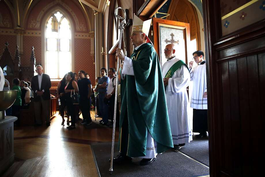 San Francisco Archbishop Salvatore Cordileone waits to process during a mass for St. Peter's Church parishioners who will be making a pilgrimage to Washington, DC to see Pope Francis. Photographed in San Francisco, Calif., on Sunday, September 20, 2015. Photo: Scott Strazzante, The Chronicle