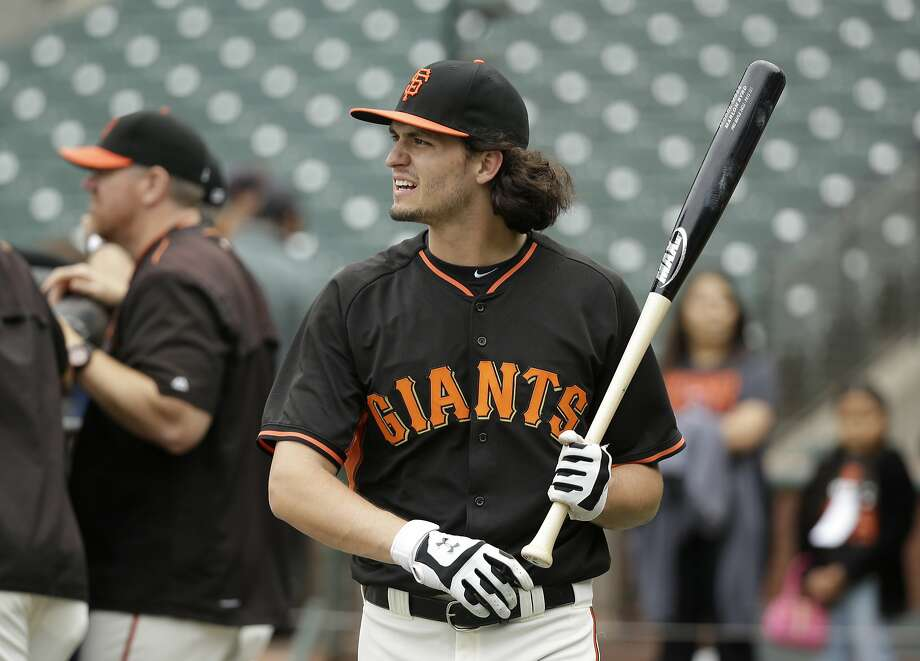 San Francisco Giants right fielder Jarrett Parker before the start of their baseball game against the San Diego Padres Saturday, Sept. 12, 2015, in San Francisco.  Photo: Eric Risberg, Associated Press