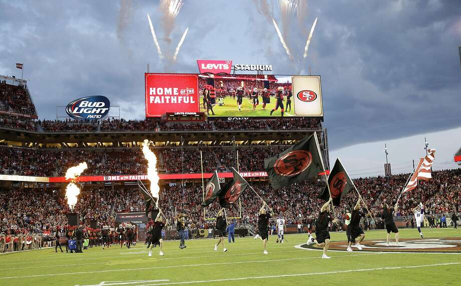 San Francisco 49ers players run onto the field at Levi's Stadium before an NFL football game against the Minnesota Vikings in Santa Clara, Calif., Monday, Sept. 14, 2015. (AP Photo/Marcio Jose Sanchez) Photo: Marcio Jose Sanchez, Associated Press