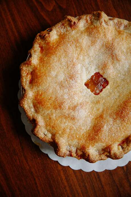 A pie made with fresh local peaches at Lester Farms Bakery. Photo: Sarah Rice, Special To The Chronicle