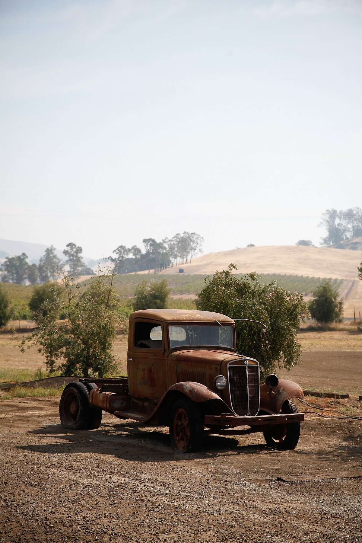An old farm truck on the property of the Seka Hills Tasting Room in Brooks, Calif., on Tuesday, September 15, 2015.