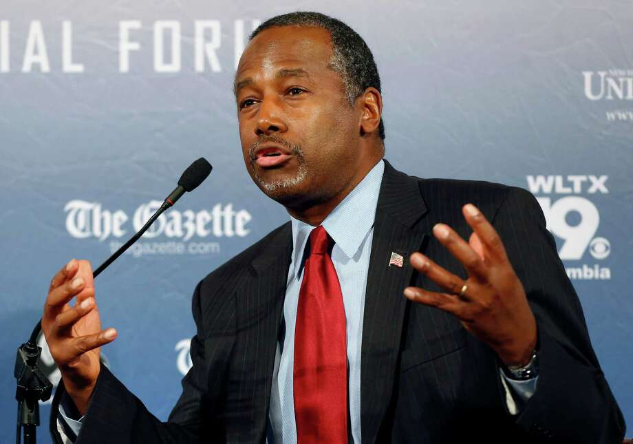 "FILE - In this Monday, Aug. 3, 2015, file photo, Republican presidential candidate and retired neurosurgeon Ben Carson speaks during a forum, in Manchester, N.H. Responding to a question during an interview broadcast Sunday, Sept. 20, 2015, on NBC's ""Meet the Press,"" Carson, a devout Christian, said Islam is antithetical to the Constitution and he doesn't believe that a Muslim should be elected president. (AP Photo/Jim Cole, File) ORG XMIT: NY109 Photo: Jim Cole / AP"