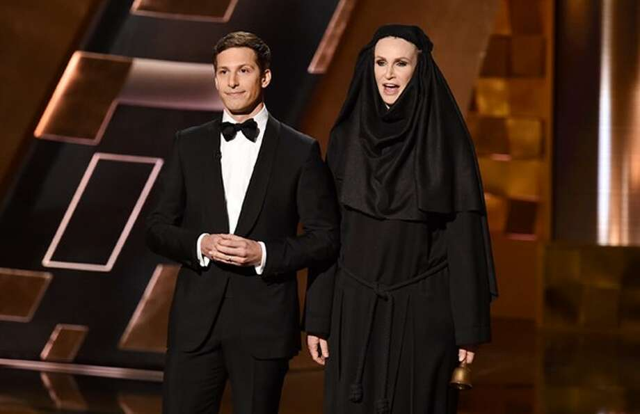 Andy Samberg opens the 2015 Emmys with hilarity.Continue clicking to see his top jokes during his opening monologue.