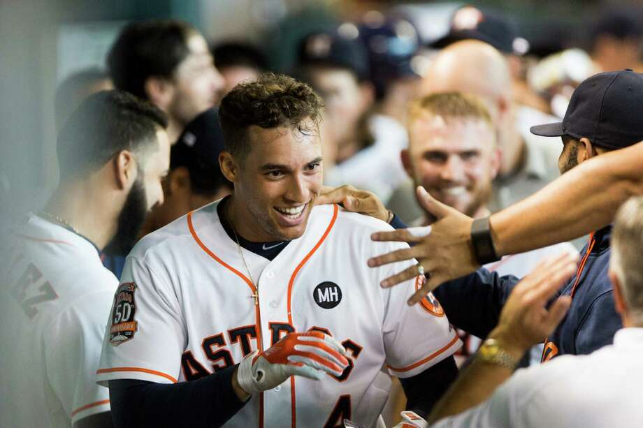 George Springer bought the first fog machine and laser lights for Club Astros. Photo: Marie D. De Jesus, Staff / © 2015 Houston Chronicle
