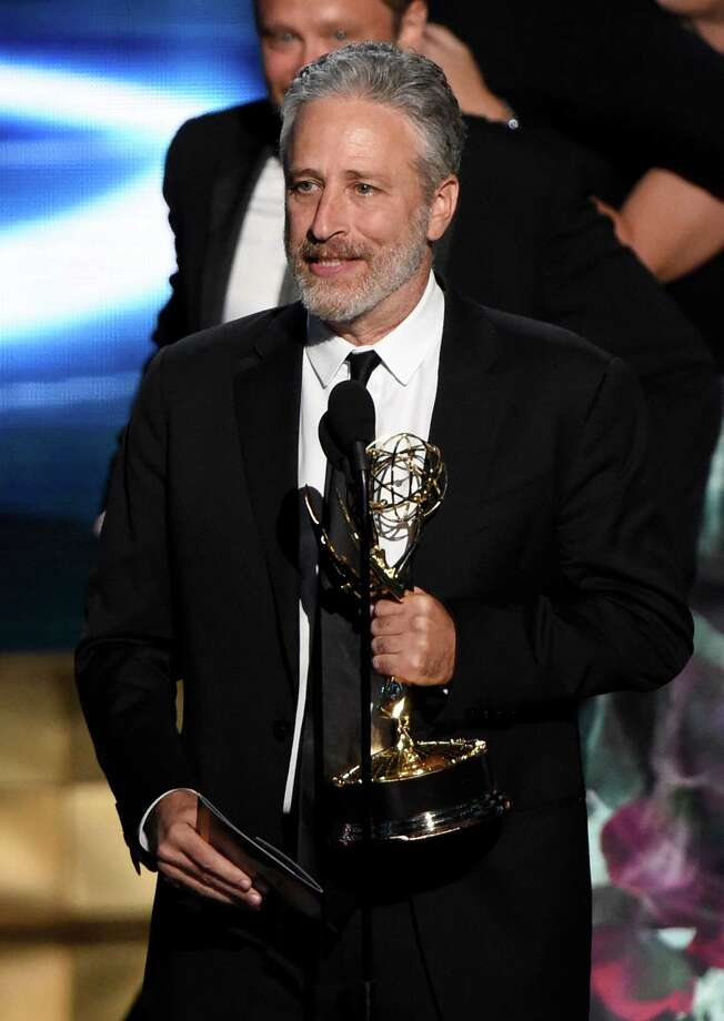 "Jon Stewart accepts the award for outstanding variety talk series for ""The Daily Show With Jon Stewart"" at the 67th Primetime Emmy Awards on Sunday, Sept. 20, 2015, at the Microsoft Theater in Los Angeles. (Photo by Chris Pizzello/Invision/AP) Photo: Chris Pizzello, Chris Pizzello/Invision/AP / Invision"