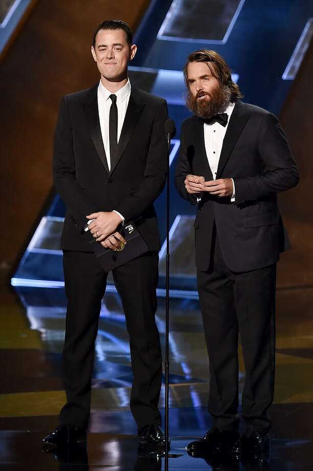 LOS ANGELES, CA - SEPTEMBER 20:  Actors Colin Hanks (L) and Will Forte speak onstage during the 67th Annual Primetime Emmy Awards at Microsoft Theater on September 20, 2015 in Los Angeles, California.  (Photo by Kevin Winter/Getty Images) Photo: Kevin Winter, Getty Images