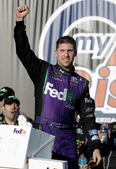 Denny Hamlin may not be getting around all that well off the track - he has a torn ACL from playing basketball last week - but he had the fastest car Sunday in the first race in the Chase. Photo: Nam Y. Huh, STF / AP