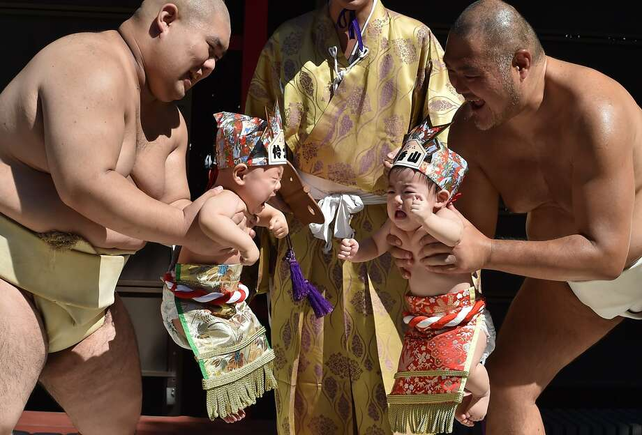 "Sumo wrestlers hold up crying babies during a ""Baby-cry Sumo"" event at the Irugi Shrine in Tokyo on September 20, 2015. Japanese parents believe that sumo wrestlers can help make babies cry out a wish to grow up with good health. Photo: Kazuhiro Nogi, AFP / Getty Images"