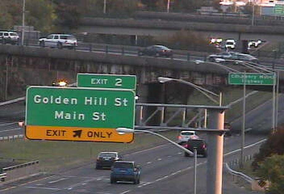 Traffic slows on the Route 8/25 connector in downtown Bridgeport on Monday morning. Photo: Photo From State DOT Traffic Cam