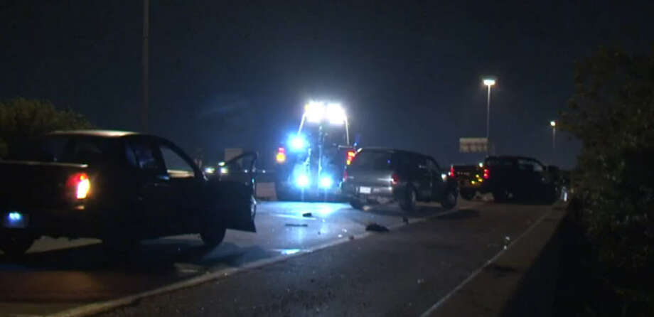 Two people reportedly died in a traffic crash Sunday night on the 610 Loop in south Houston. Photo: Metro Video