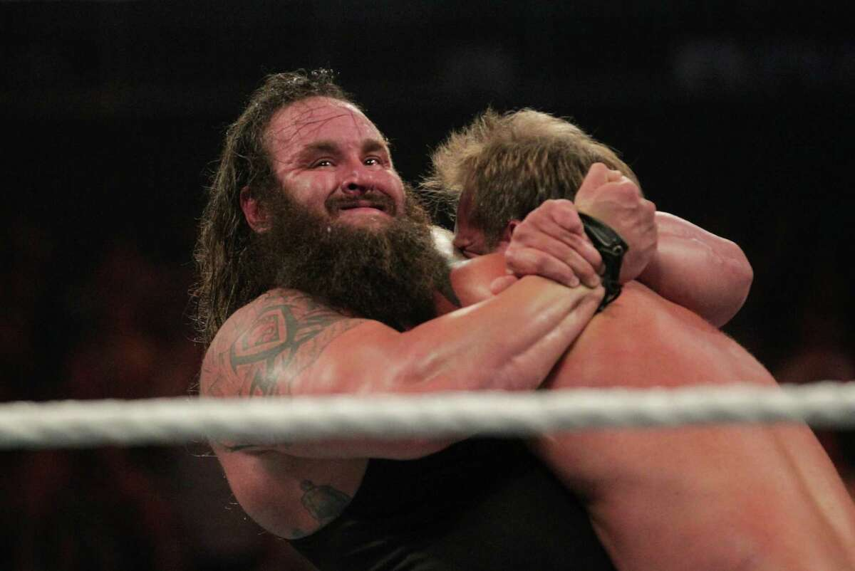 Braun Stowman holds Chris Jericho in a headlock during a six man tag-team match at the WWE Night of Champions at the Toyota Center.