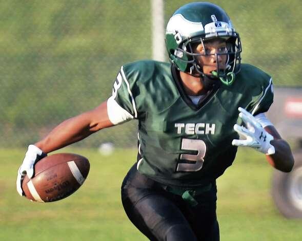 Green Tech's #3 Raki Johnson returns the starting kickoff Saturday's game against Scotia at Bleecker Stadium Sept. 19, 2015 in Albany, NY.  (John Carl D'Annibale / Times Union) Photo: John Carl D'Annibale, Albany Times Union / 00033441A