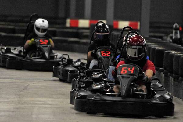 """Thursday Night Thunder race night at """"On Track Karting"""" in Brookfield, Conn, on September 10, 2015."""