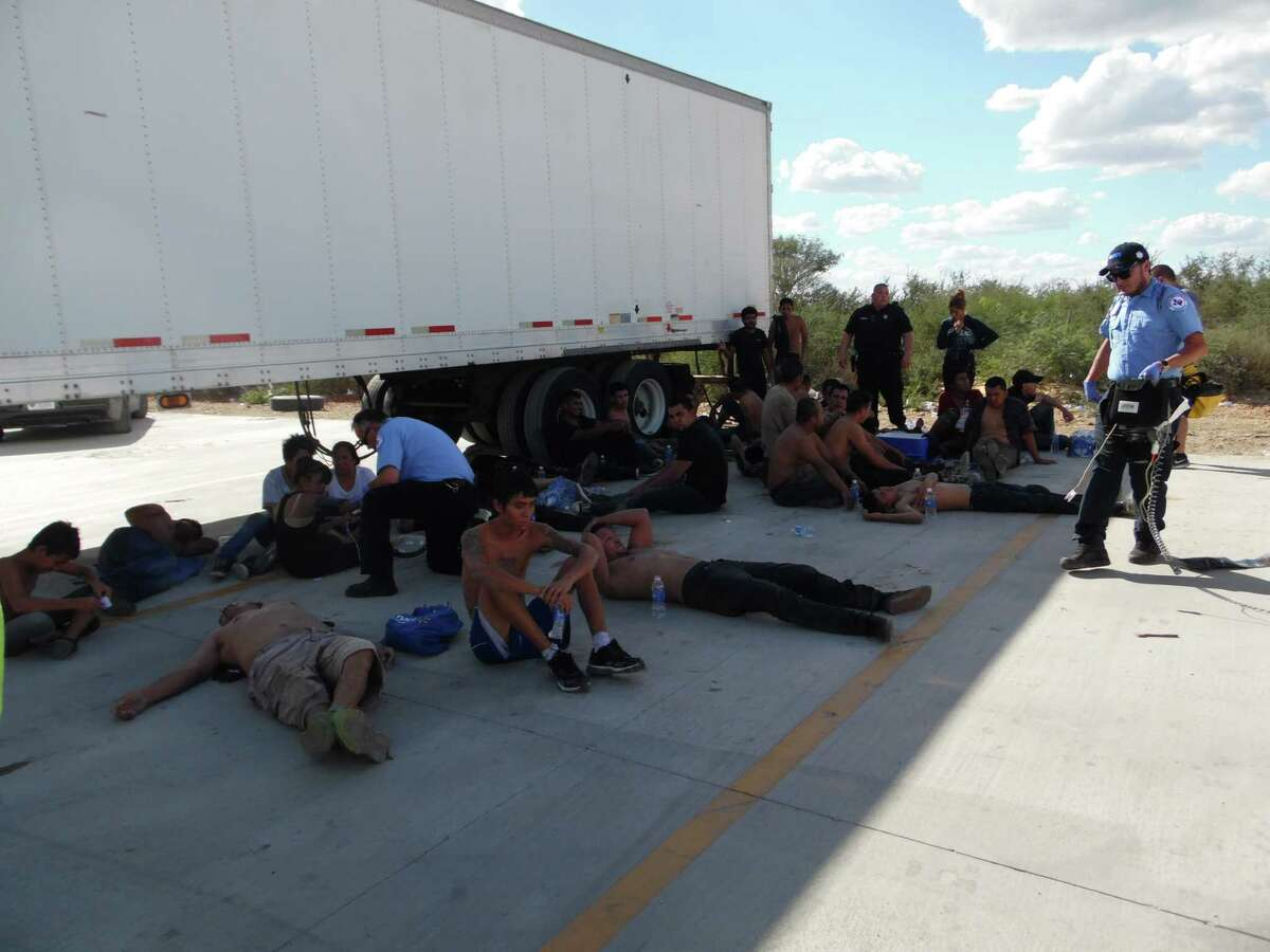 Authorities found 39 illegal immigrants inside an 18-wheeler at a Frio County truck stop on Interstate 35 at U.S. 59, Sept. 19, 2015. No serious injuries were reported.