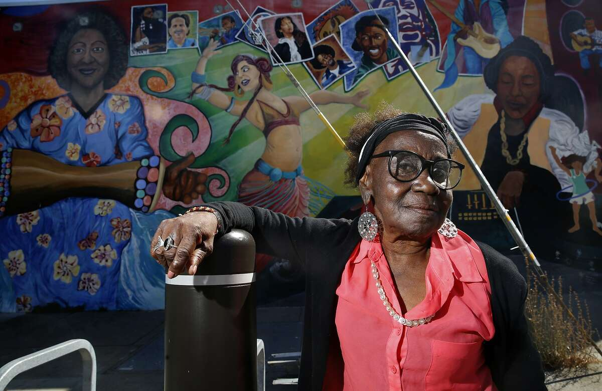 """Artist Edythe Boone in a new documentary """"A New Color: The Art of Being Edythe Boone"""" by director Marlene (""""Mo"""") Morris shows one of her murals in Berkeley, Calif., on Friday, September 18, 2015."""