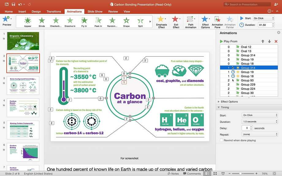 Office 2016 includes PowerPoint, above, plus Word and Excel. Photo: Microsoft
