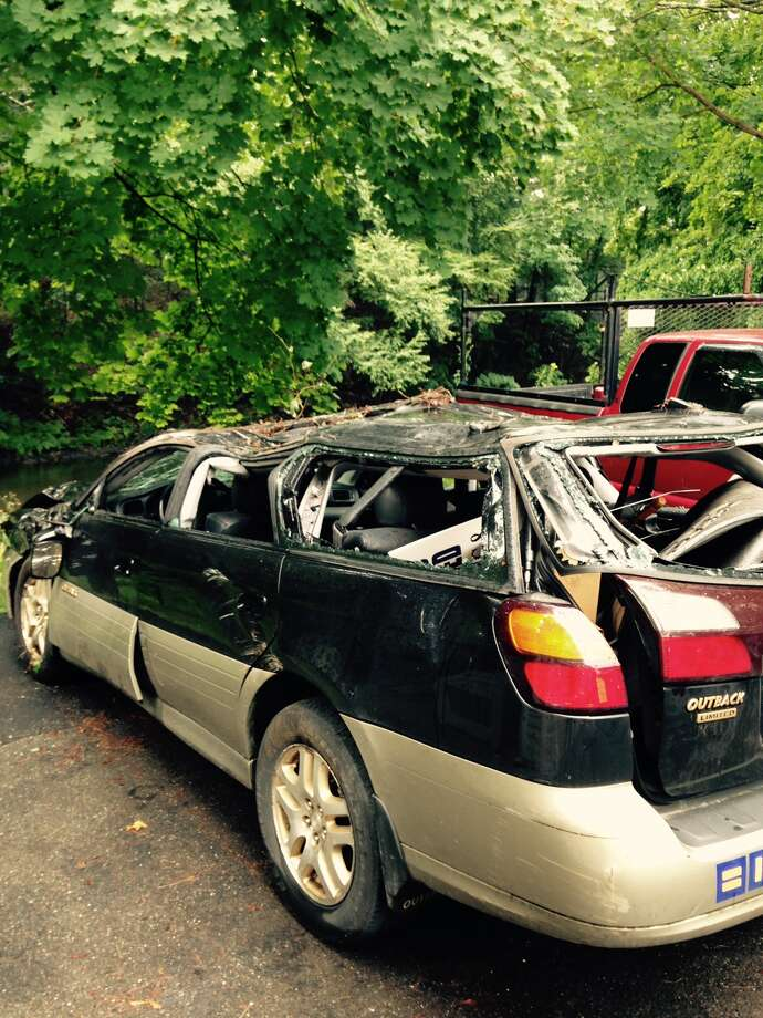 Washington resident Joe Mustich Subaru Legacy after roll over crash on Nettleton Hollow Road on Aug. 10, 2015. Photo: Contributed Photo / Contributed By Joe Mustich / Connecticut Post