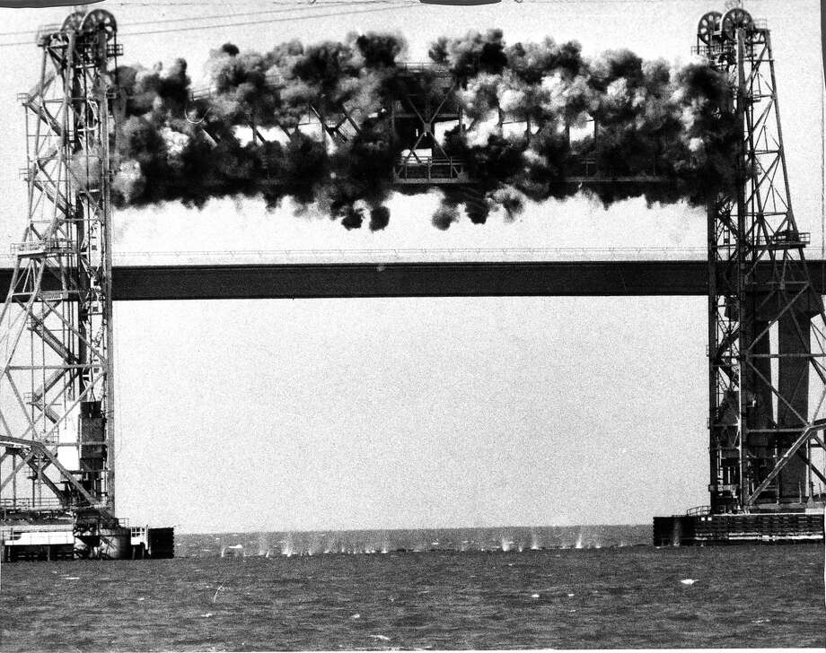 This is the first of three photos showing the 1984 explosion of the Dumbarton Bridge. Photo: Frederic Larson, The Chronicle