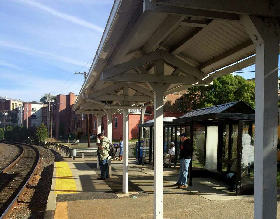 The Ansonia train station in Ansonia, Conn. on Monday, Sept. 21, 2015. Ansonia Mayor david Cassetti, Cassetti, Derby Mayor Anita Dugatto, Beacon Falls First Selectman Christopher Bielik, Naugatuck Mayor Bob Mezzo and Waterbury Mayor Neil OâÄôLeary accompanied U.S. Sen. Chris Murphy on a train ride Monday morning for a press conference in Bridgeport to address the needs for better service on the Waterbury Line. Photo: Michael P. Mayko / Hearst Connecticut Media / Connecticut Post