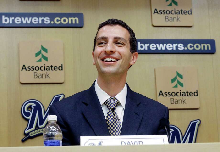 David Stearns speaks during a news conference Monday, Sept. 21, 2015, in Milwaukee. Stearns was introduced as the Milwaukee Brewers' new general manager. (AP Photo/Morry Gash) Photo: Morry Gash, STF / AP