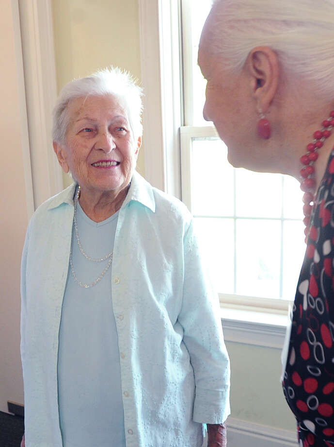 "Jane Ponger Insingna, 89 of Greenwich, GHS Class of 1944, attended the Greenwich High School classes of 1944 and 1945 reunion at Zody's 19th Hole Restaurant in Stamford, Conn., Saturday, Sept. 19, 2015. Lov Caravella, president of the class of 1944 and the person who organized the reunions said 36 people attended. Caravella said ""we had to combine the reunions because a lot of our classmates are not with us anymore."" Photo: Bob Luckey Jr. / Hearst Connecticut Media / Greenwich Time"