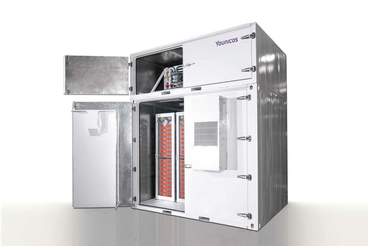 A half-megawatt battery storage system developed by Younicos Inc. is shown. Two will be combined for a 1-megawatt battery storage system planned for a San Antonio-based OCI Solar Power solar farm.