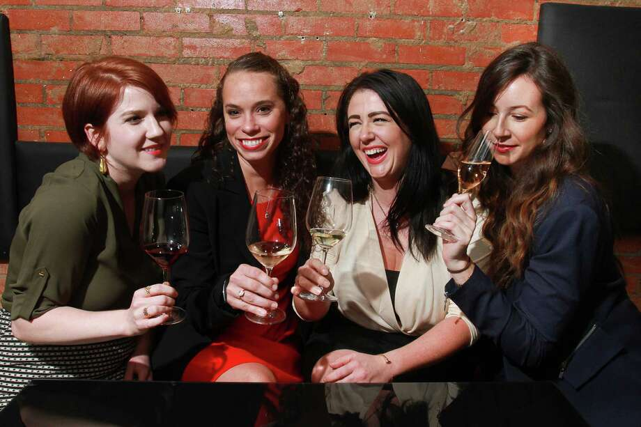 Iron Sommelier contestants Taylor Mundy, from left, Brittany Brown, Samantha Porter and Lindsay Thomas will each compete against three other women and seven men Oct. 1. Photo: Gary Fountain, Freelance / Copyright 2015 by Gary Fountain