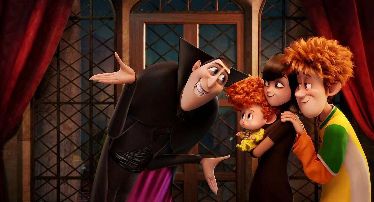 In this image released by Sony Pictures Animation, from left, Dracula, voiced by Adam Sandler, Dennis, voiced by Asher Blinkoff, Mavis, voiced by Selena Gomez, and Jonathan, voiced by Andy Samberg appear in a scene from in Columbia Pictures and Sony Pictures Animation's