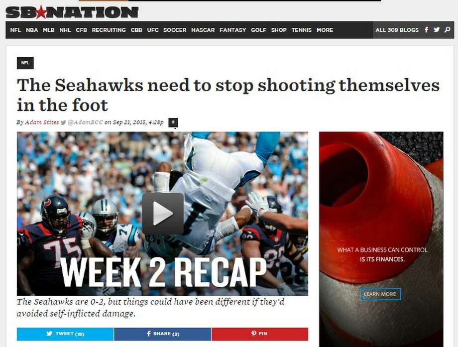 """SB Nation's Adam SitesSites wrote that the Seahawks' 0-2 start, while far from season-defining at this point, was self-inflicted.   """"In Week 1, they lost in overtime to the St. Louis Rams after scoring 18 points in the fourth   quarter,"""" Sites wrote. """"On Sunday night, the Green Bay Packers scored 14 unanswered to finish   the game, erasing a 17-13 third-quarter lead for Seattle. If it wasn't for self-inflicted   damage, both of those games could have had different results. And the Seahawks know they only   have themselves to blame."""""""