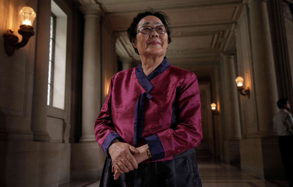 Yong Soo Lee, who was enslaved by the Japanese army during the war, flew from South Korea to S.F. to support a memorial.