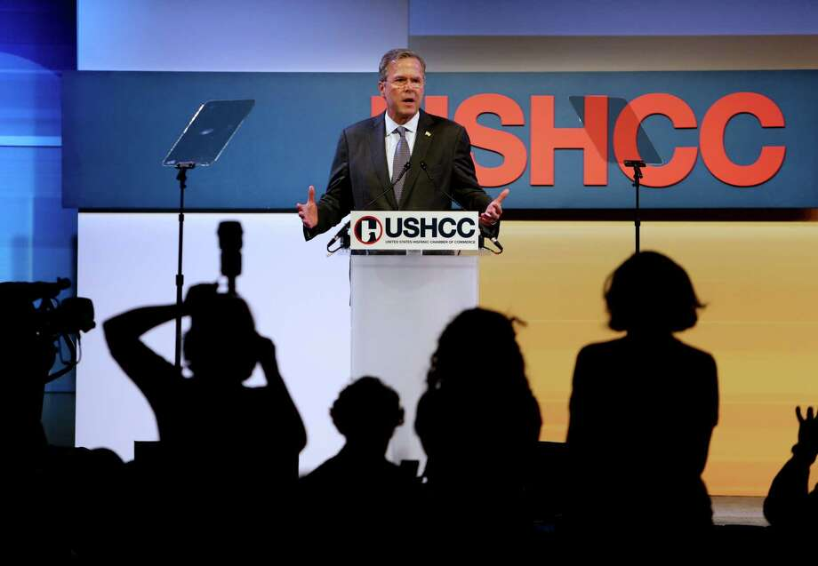 "Former Fla. Gov Jeb Bush told a crowd at the U.S. Hispanic Chamber of Commerce convention that a border wall and mass deportation ""won't solve the problems."" Photo: Gary Coronado, Staff / © 2015 Houston Chronicle"