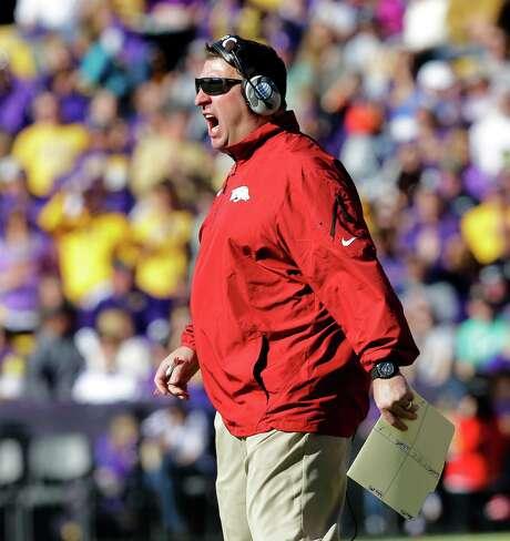 "Arkansas coach Bret Bielema advised Kliff Kingsbury to not ""be so sensitive. Photo: Bill Haber, FRE / FR170136 AP"