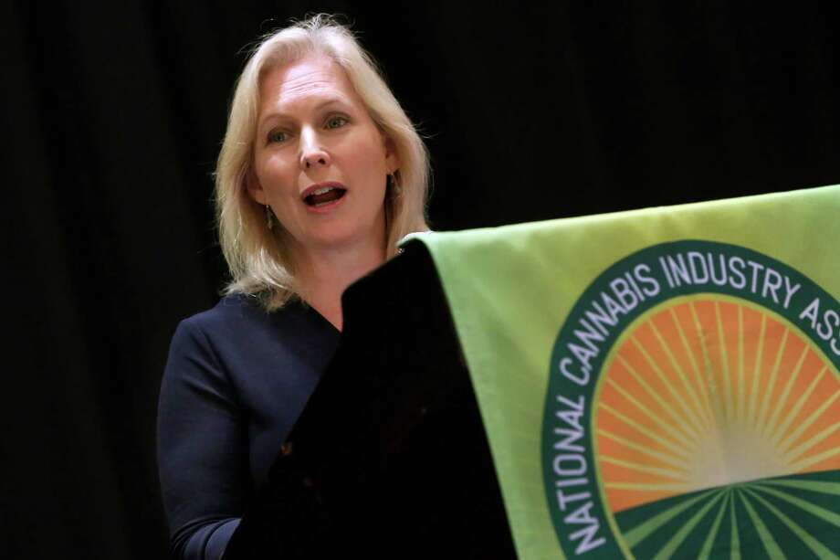 U.S. Sen. Kirsten Gillibrand, D-NY, addresses the National Cannabis Industry Association meeting, in New York,  Monday, Sept. 21, 2015. The meeting  was for people in the pot business seeking to develop best practices for medical marijuana. (AP Photo/Richard Drew) ORG XMIT: NYRD102 Photo: Richard Drew / AP
