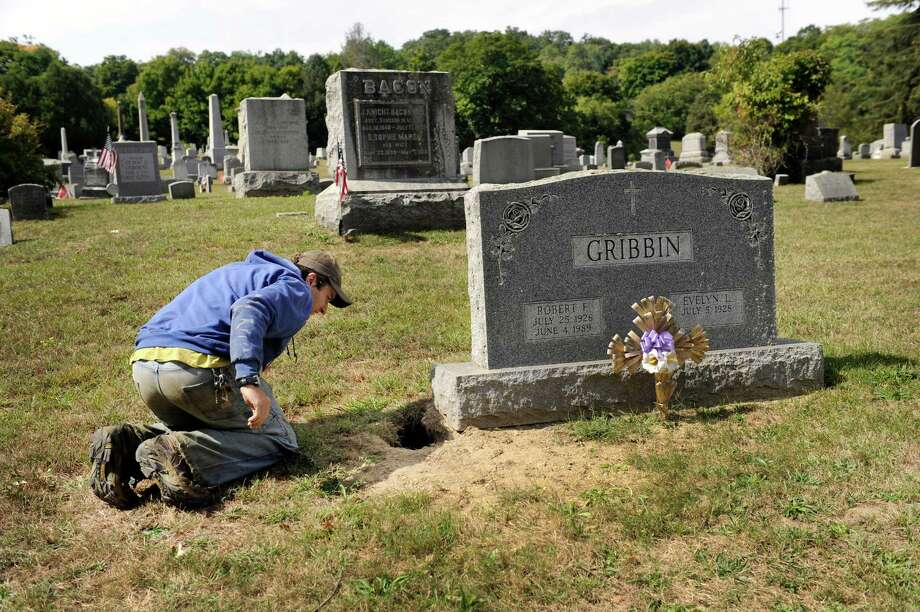 Mike Sennello, superintendent of Center Cemetery in New Milford, examines areas effected by an overpopulation of woodchucks, Monday, Sept. 21, 2015. Photo: Carol Kaliff / Hearst Connecticut Media / The News-Times