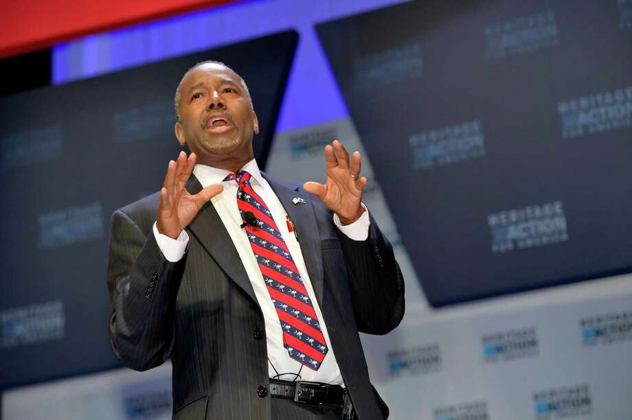 FILE - In this Sept. 18, 215 file photo, Republican presidential candidate Ben Carson speaks in Greenville, S.C. Carson is refusing to back off his weekend charge that Muslims shouldn't serve in the presidency. (AP Photo/Richard Shiro, File) Photo: RICHARD SHIRO, FRE / FR159523 AP