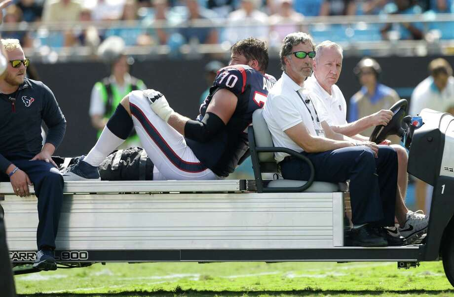It looked bleak for Texans guard Jeff Adams when he was carted off on Sunday and confirmation came Monday that he would miss the rest of the season. Photo: Brett Coomer, Staff / © 2015  Houston Chronicle