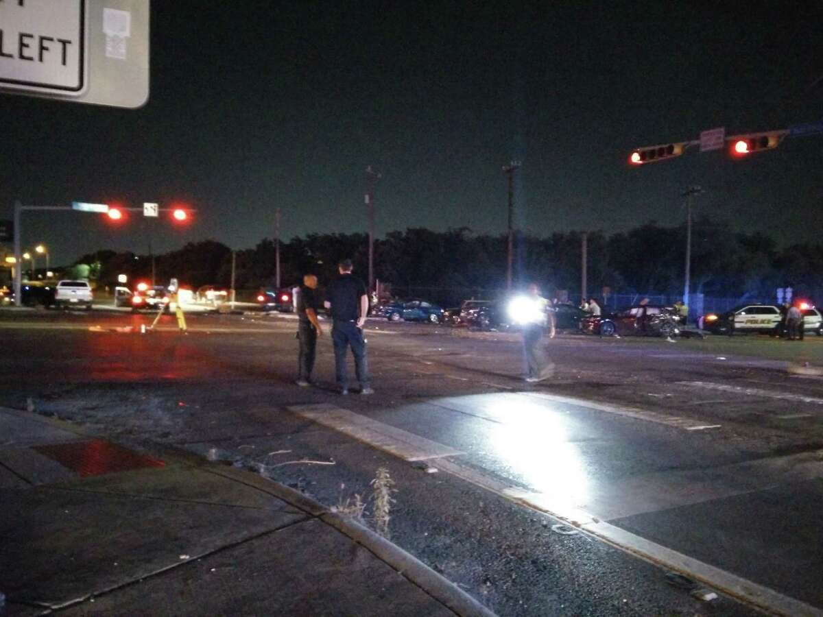 Six vehicles were damaged in an accident at Interstate 10 and Huebner Road Monday evening. A truck involved in the accident was a stolen vehicle according to authorities.