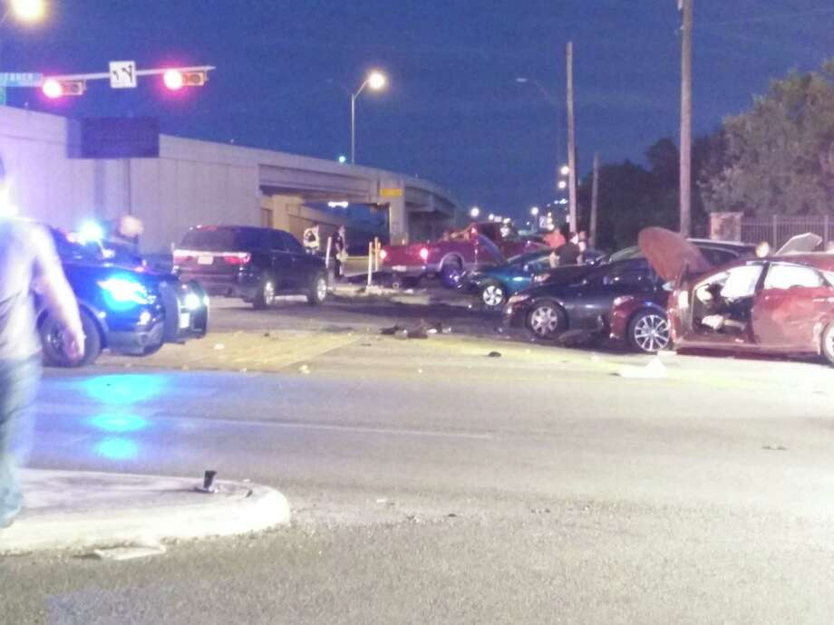 Six vehicles were damaged in an accident at Interstate 10 and Huebner Road Monday evening. A truck involved in the accident was a stolen vehicle according to authorities. Photo: Jacob Beltran