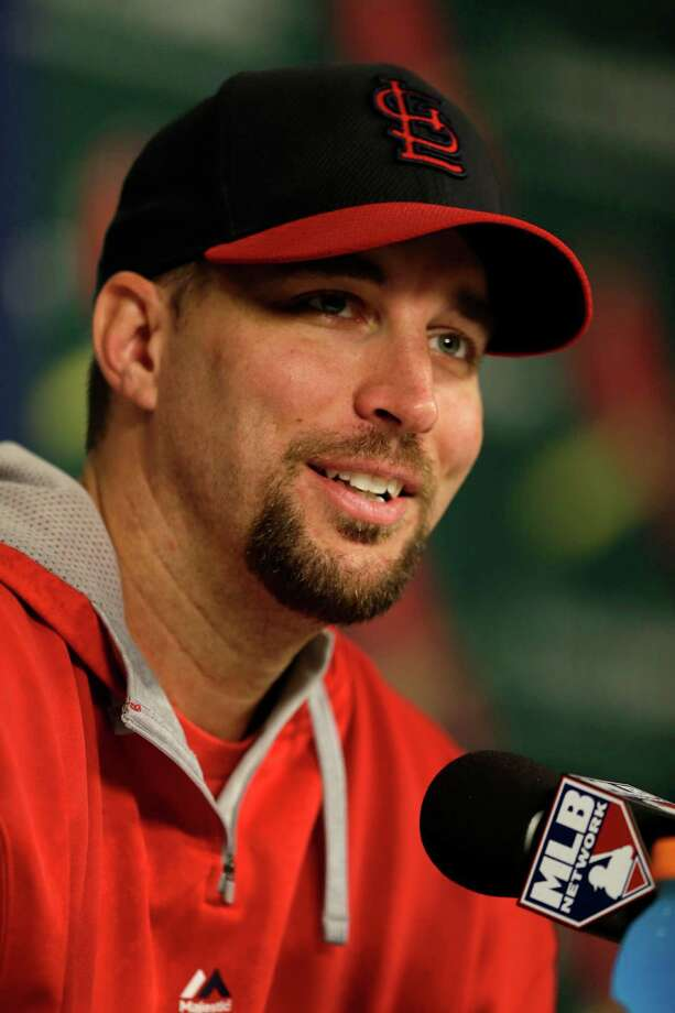 St. Louis Cardinals starting pitcher Adam Wainwright speaks during a news conference Friday, Oct. 10, 2014, in St. Louis. Wainwright will start for the Cardinals when they play the San Francisco Giants in Game 1 of baseball's National League Championship Series on Saturday in St. Louis. (AP Photo/Jeff Roberson) Photo: Jeff Roberson, STF / AP