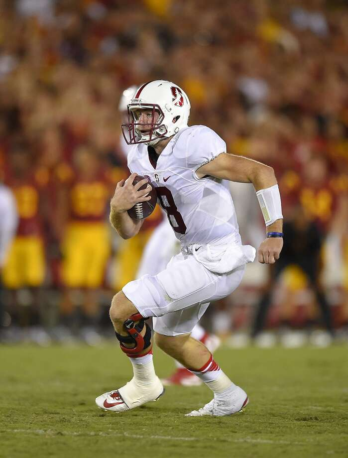 Stanford quarterback Kevin Hogan runs the ball during the second half of an NCAA college football game against Southern California, Saturday, Sept. 19, 2015, in Los Angeles.  Stanford won 41-31. (AP Photo/Mark J. Terrill) Photo: Mark J. Terrill, Associated Press