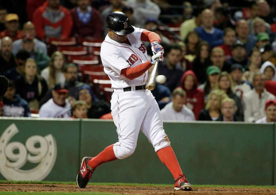 Boston Red Sox's Xander Bogaerts hits an RBI double in the seventh inning of a baseball game against the Tampa Bay Rays, Monday, Sept. 21, 2015, at Fenway Park in Boston. (AP Photo/Steven Senne) ORG XMIT: MASR112 Photo: Steven Senne / AP