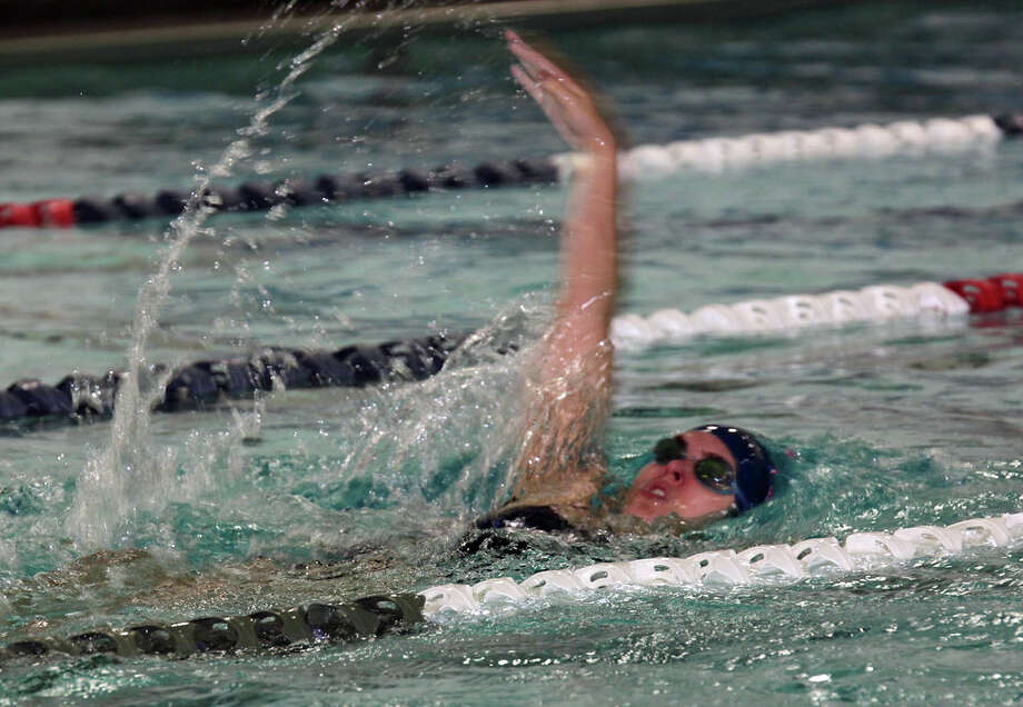 Staples' Mia Bullock swims against Wilton on Monday, Sept. 21 2015. The Wreckers won the meet 103-83. Photo: Contributed Photo / Westport News Contributed