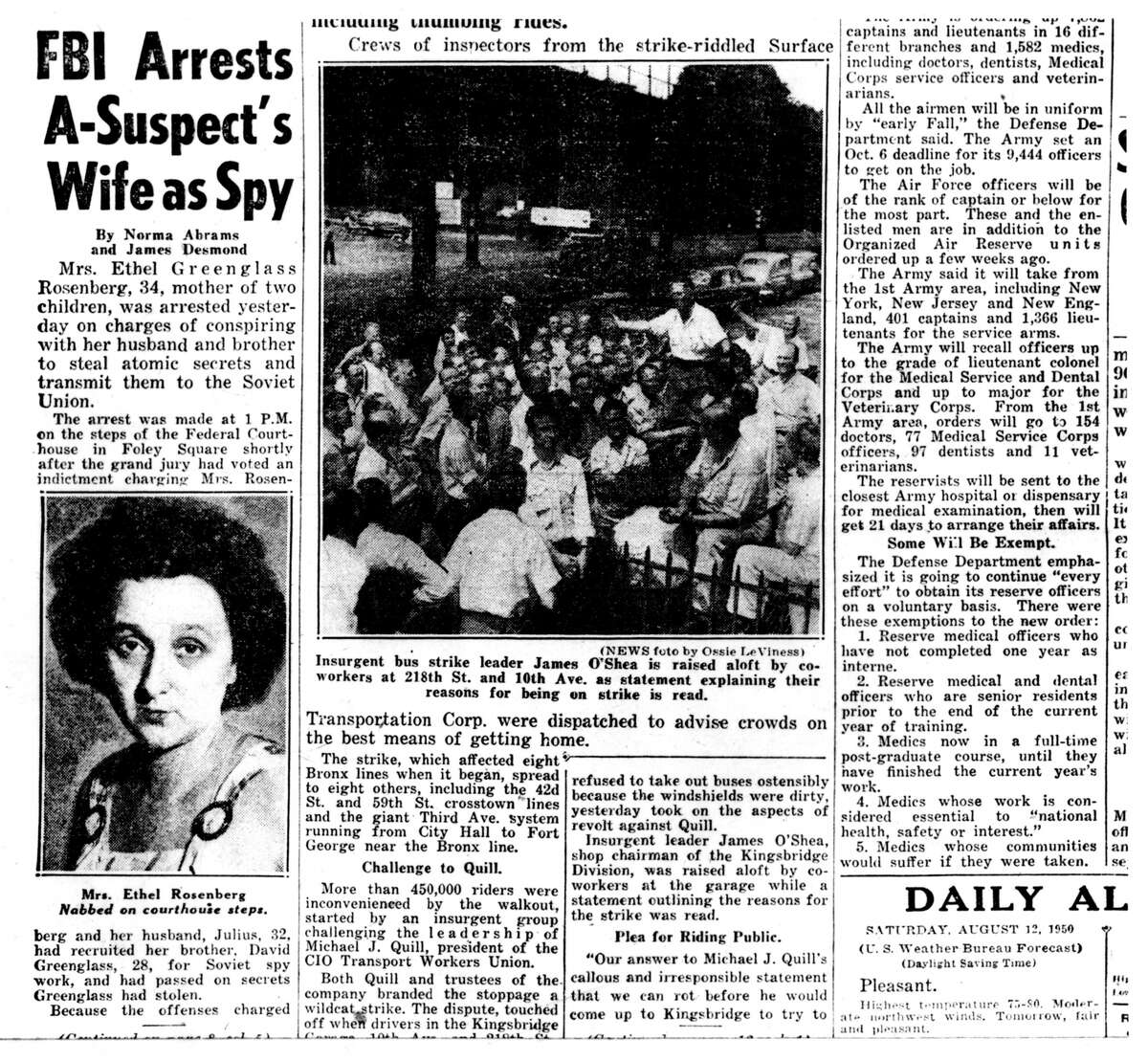 Rosenberg spies steal nuclear secrets 1950 American citizens Ethel and Julius Rosenberg were indicted in August 1950 on charges of espionage for giving American nuclear secretes to the Soviet Union. They were credited with helping the Soviets build their first atomic bomb, and said they believed that the weapon was too powerful for only one nation to possess. They were executed by electric chair in 1953.