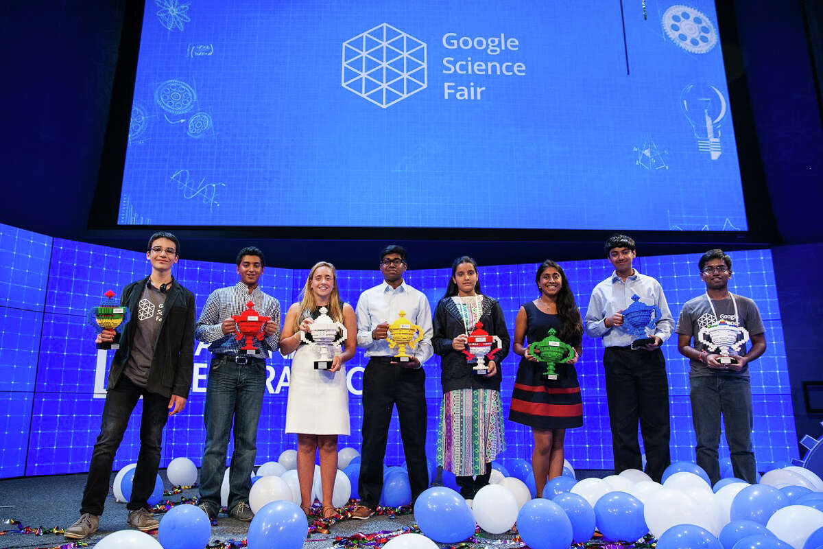 Google Science Fair winners appear on stage. Greenwich High School junior Olivia Hallisey is third from left.