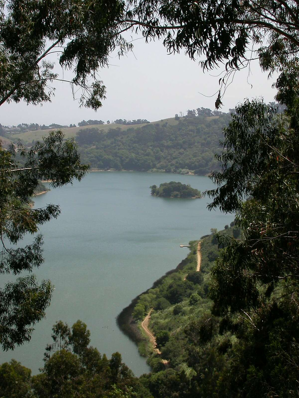 Lake Chabot viewed from the rim above the lake at a walk-in campsite. Chabot, located near Castro Valley, is one of the Bay Area's best lakes for recreation, with rental boats and kayaks, a fishing program, excellent bike trails and picnic sites