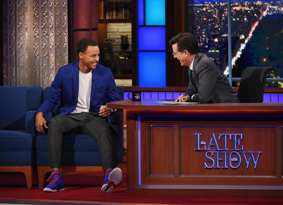 "In this photo provided by CBS, NBA MVP Stephen Curry, left, speaks with host Stephen Colbert on ""The Late Show with Stephen Colbert,"" Monday, Sept. 21, 2015, on the CBS Television Network. (Jeffrey R. Staab/CBS via AP) MANDATORY CREDIT; NO ARCHIVE; NO SALES; FOR NORTH AMERICAN USE ONLY. Photo: Jeffrey R. Staab, Associated Press"